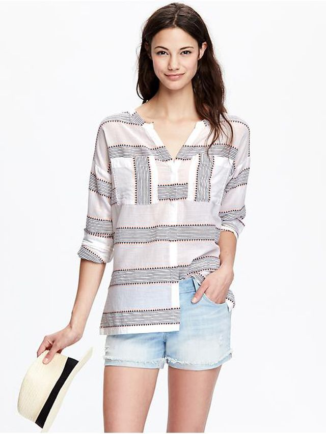 Old Navy Embroidered-Stripe Gauze Shirt