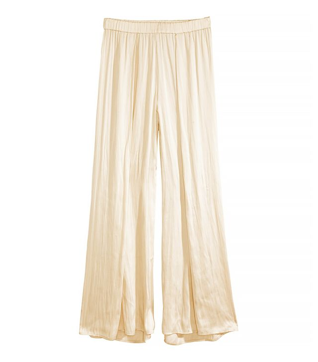 H&M Wide-Leg Satin Pants