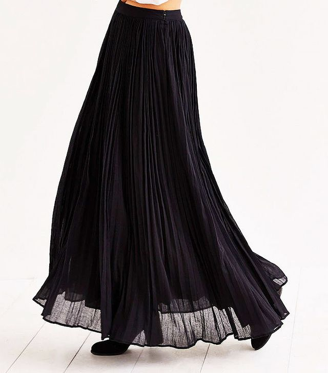 Pins and Needles Gauzy Pleated Maxi Skirt