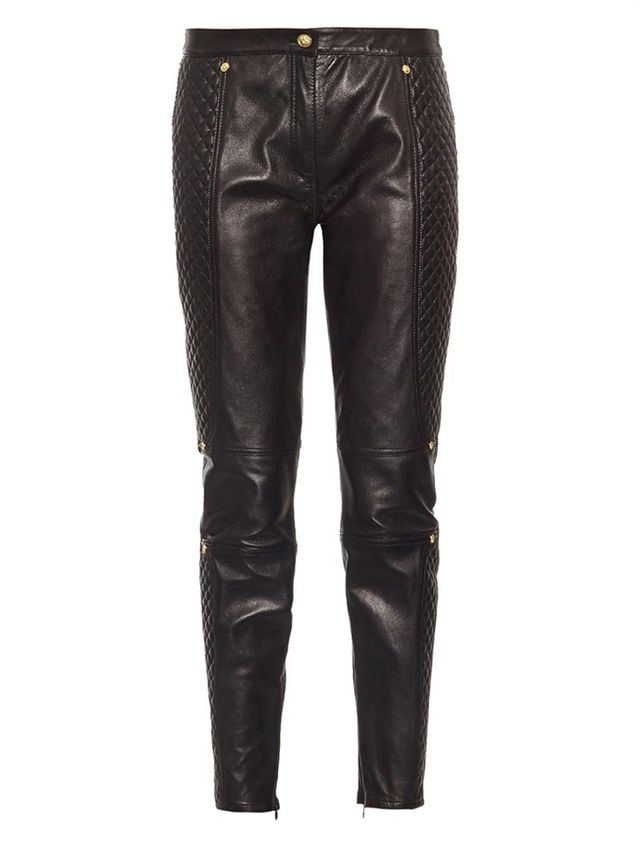 Versus Slim-Leg Quilted Leather Trousers