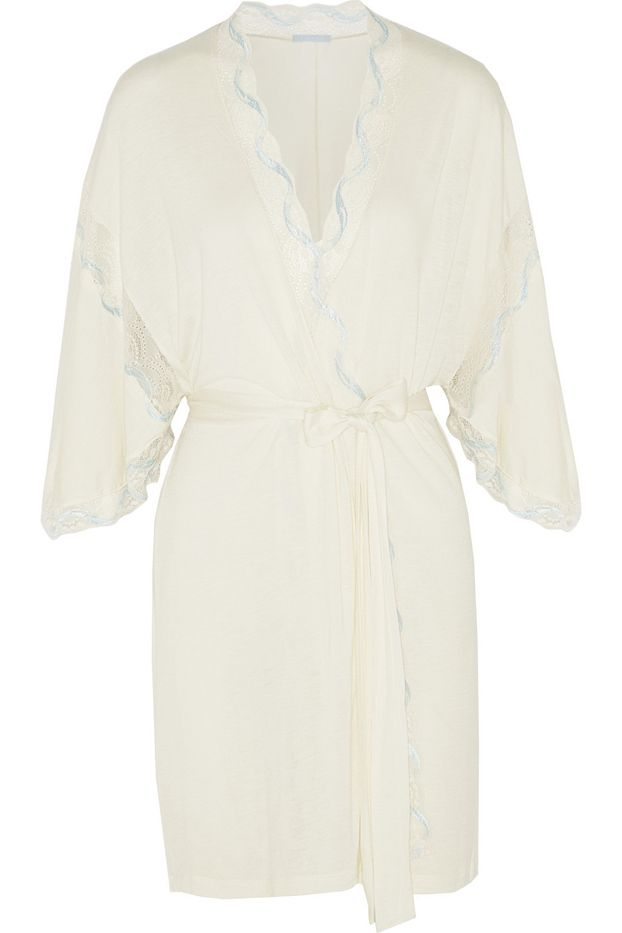 Eberjey Something Blue Lace-Trimmed Jersey Robe