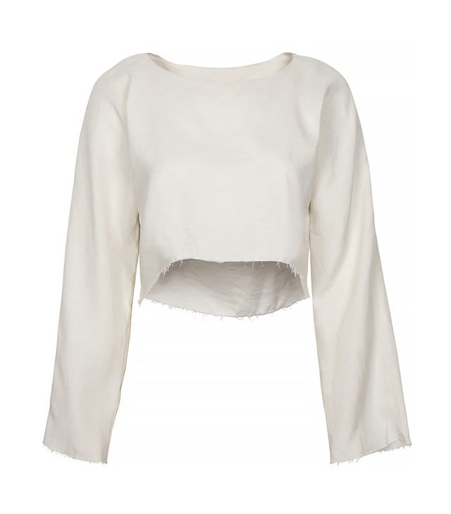 Are You Am I Delphine Raw Edge Cropped Top