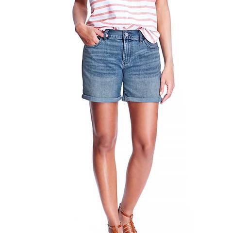 Sweetheart Cuffed Denim Shorts