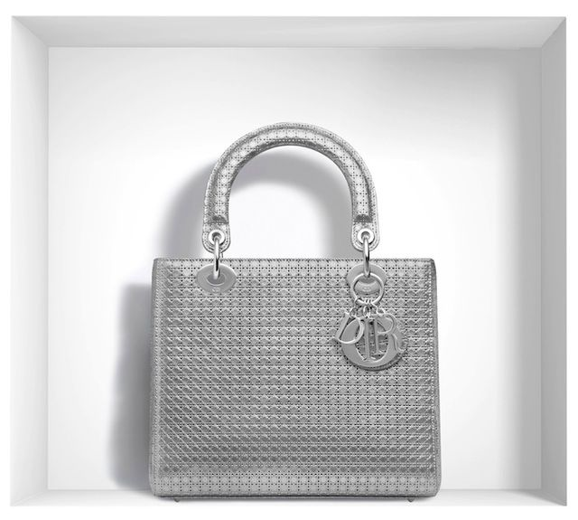 Dior 'Lady Dior' Bag in Silver-Tone Peforated Calfskin