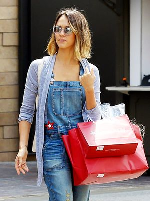 The Distressed Overalls Jessica Alba Loves