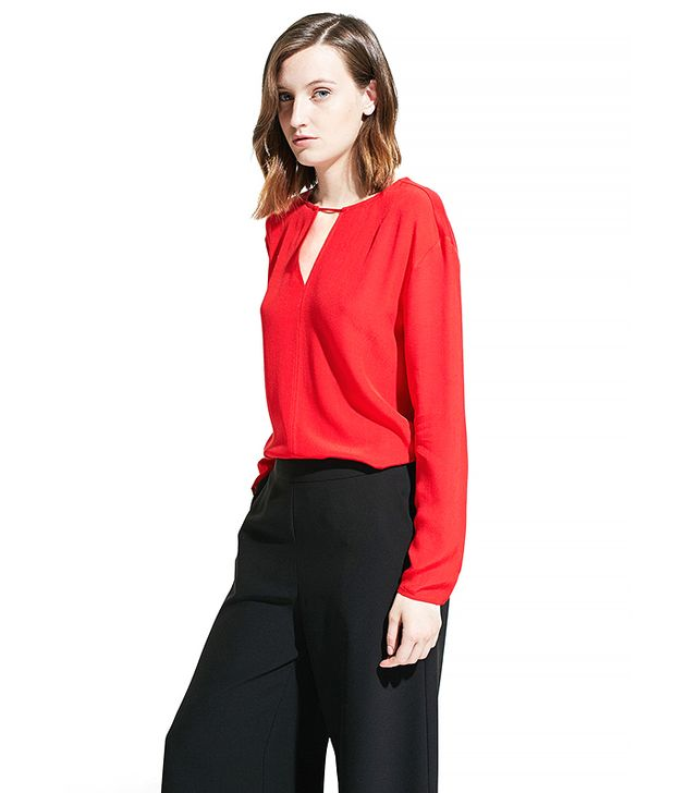 Mango Notched Detail Blouse in Red