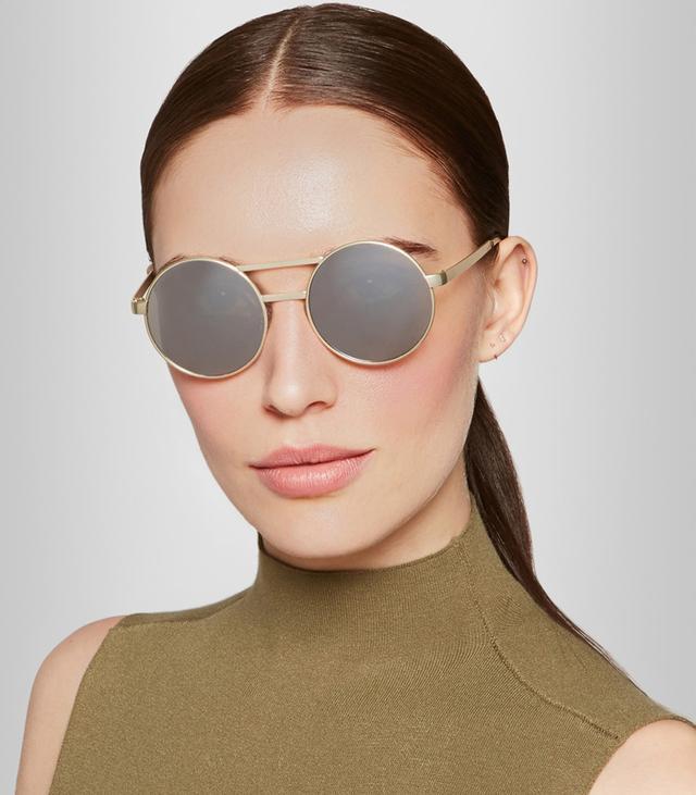 Le Specs Vertigo Gold-Tone Round-Frame Sunglasses