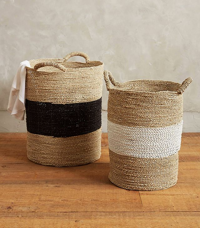 Anthropologie Banded Seagrass Baskets