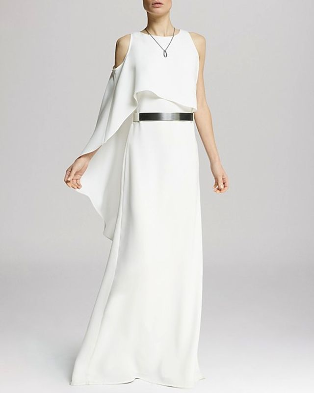 Halston Heritage Asymmetric Flutter Sleeve Gown