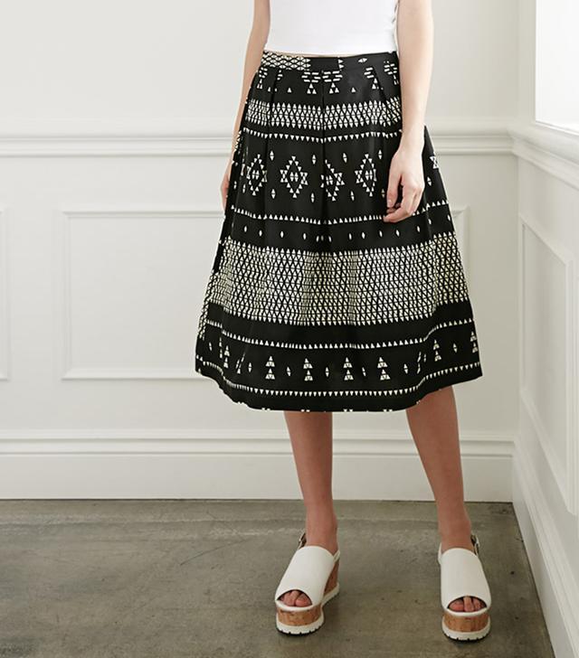 Forever 21 Geo Tribal Print A-Line Skirt