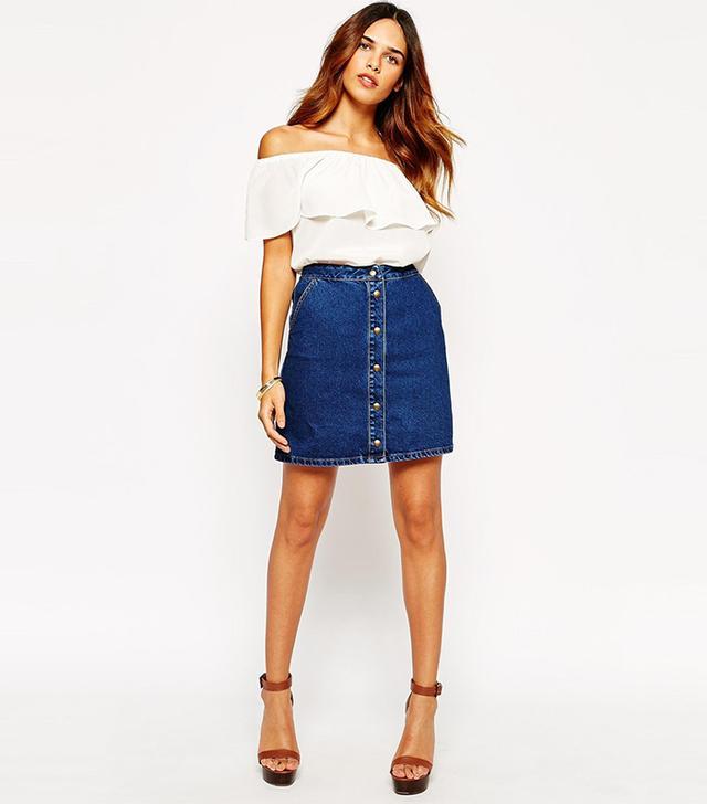 Warehouse 70s Denim Button Mini Skirt