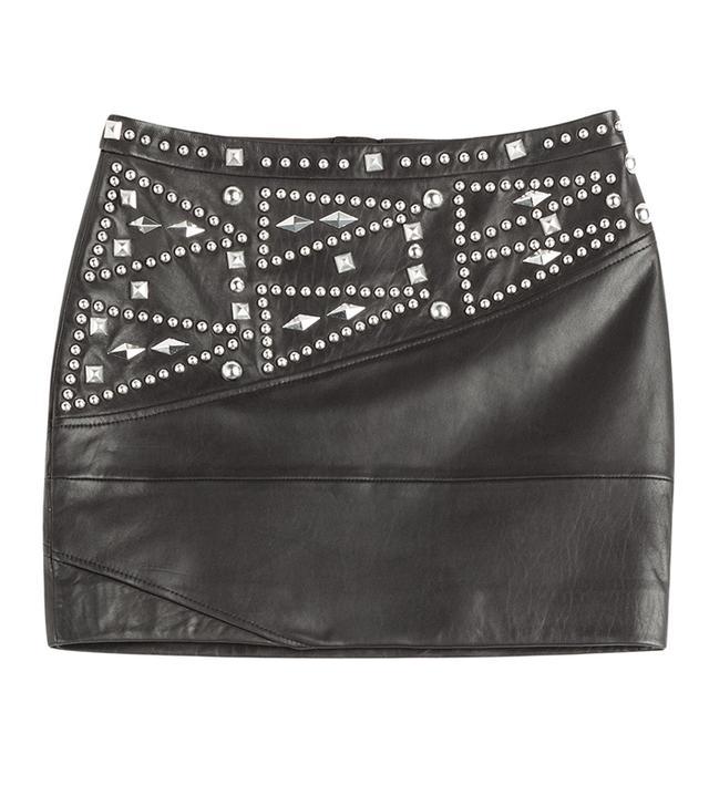 The Kooples Studded Leather Mini Skirt