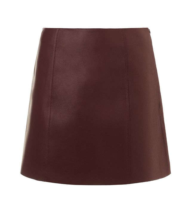 T by Alexander Wang Bordeaux Leather Raw Edge Leather Skirt