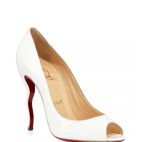 Jolly Patent Squiggle-Heel Red Sole Pump, White