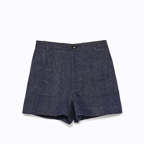 Patch Pockets High Waist Shorts