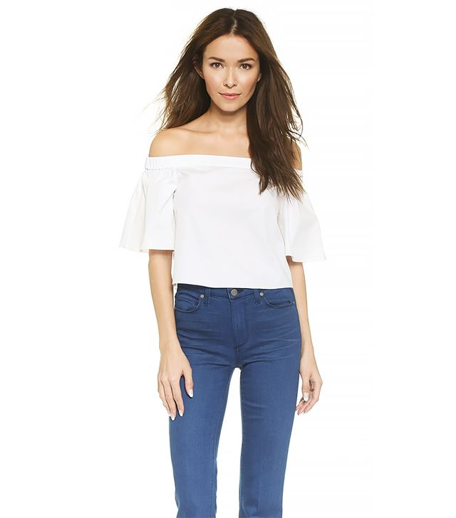 Tibi Off Shoulder Sleeve Top