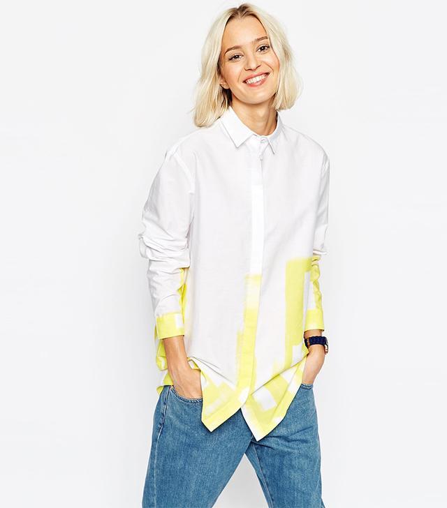 ASOS White Block Print Shirt