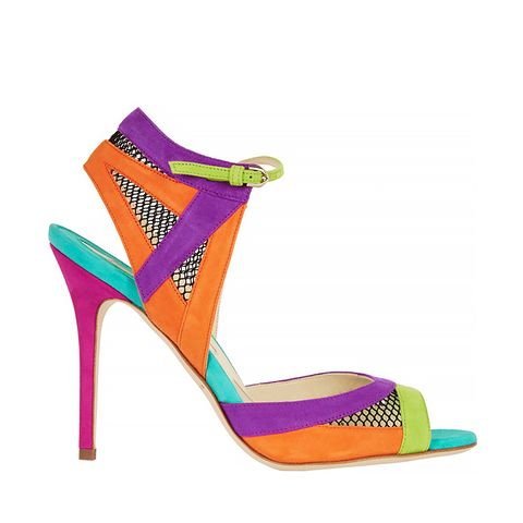 Lara Mesh-Paneled Colour Block Suede Sandals