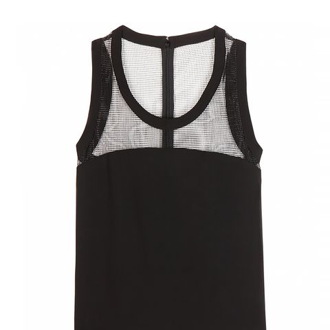 Crepe Top With Mesh