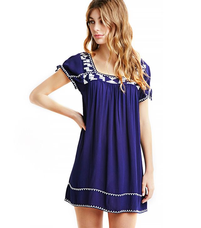 Forever 21 Embroidered Gauze Shift Dress