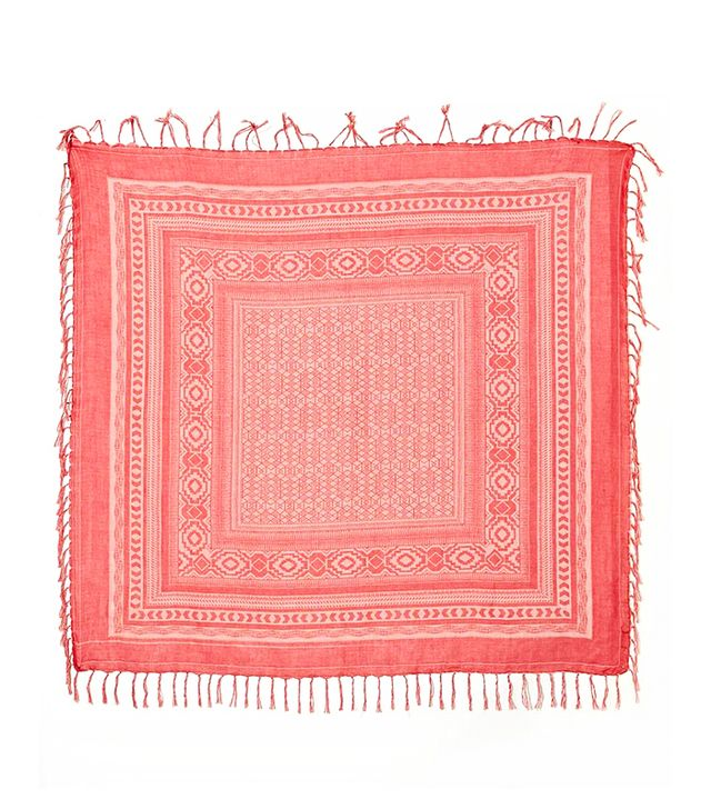 River Island Red Border Aztec Square Scarf