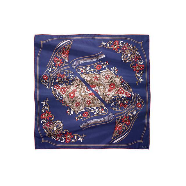 Cartier Blue and Fuchsia Silk Twill