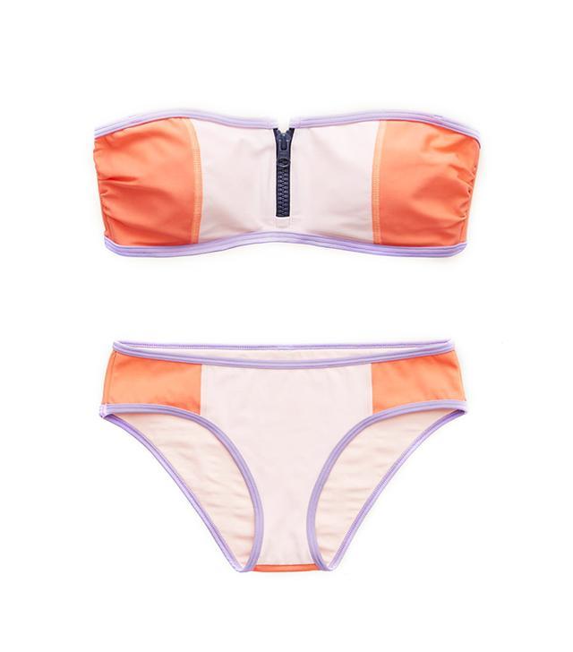 Aerie Aerie Zipper Bandeau Bikini Top ($17) and Colorblock Hipster Bikini Bottom ($13)