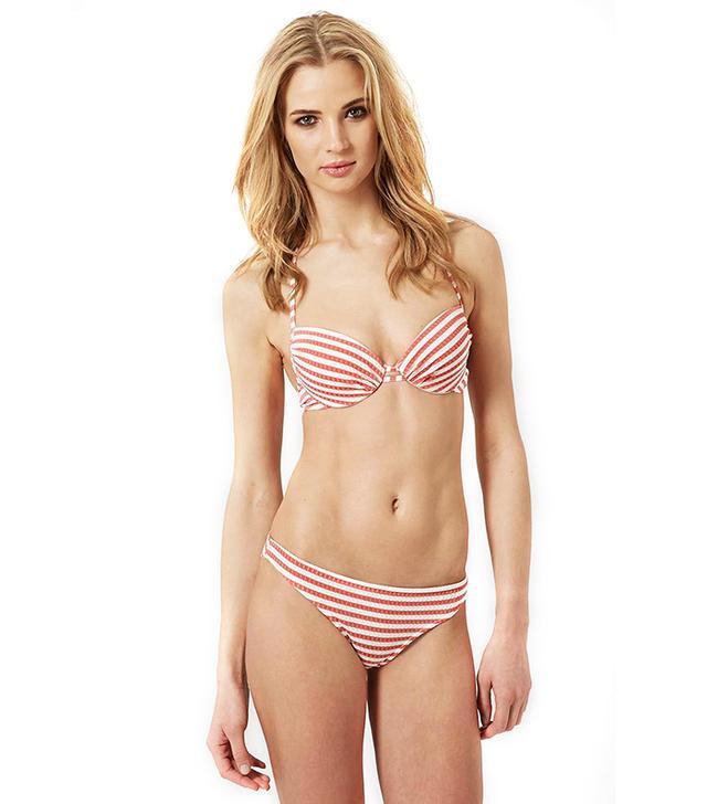 Topshop Seersucker Striped Bikini Set
