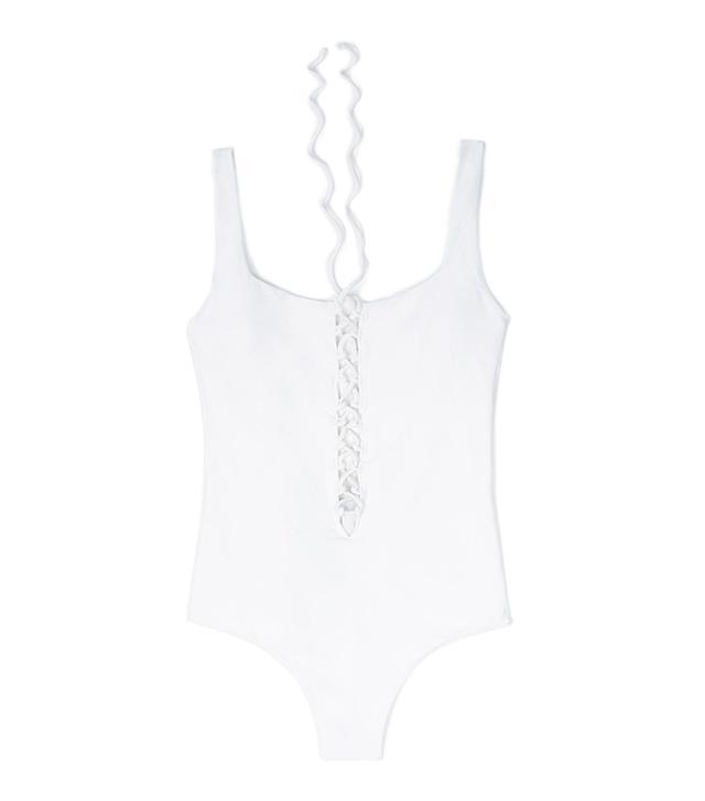 Zara Pique Lace-Up Swimsuit
