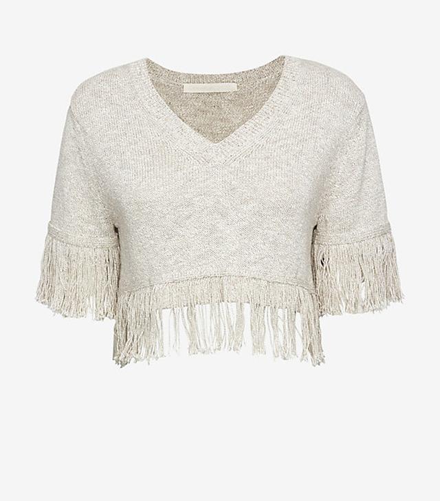 Creatures of Comfort Fringe Trim Short Sleeve Sweater