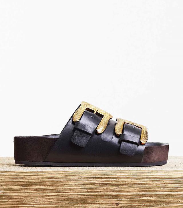Céline Boxy Flat Cowboy Buckle Sandals