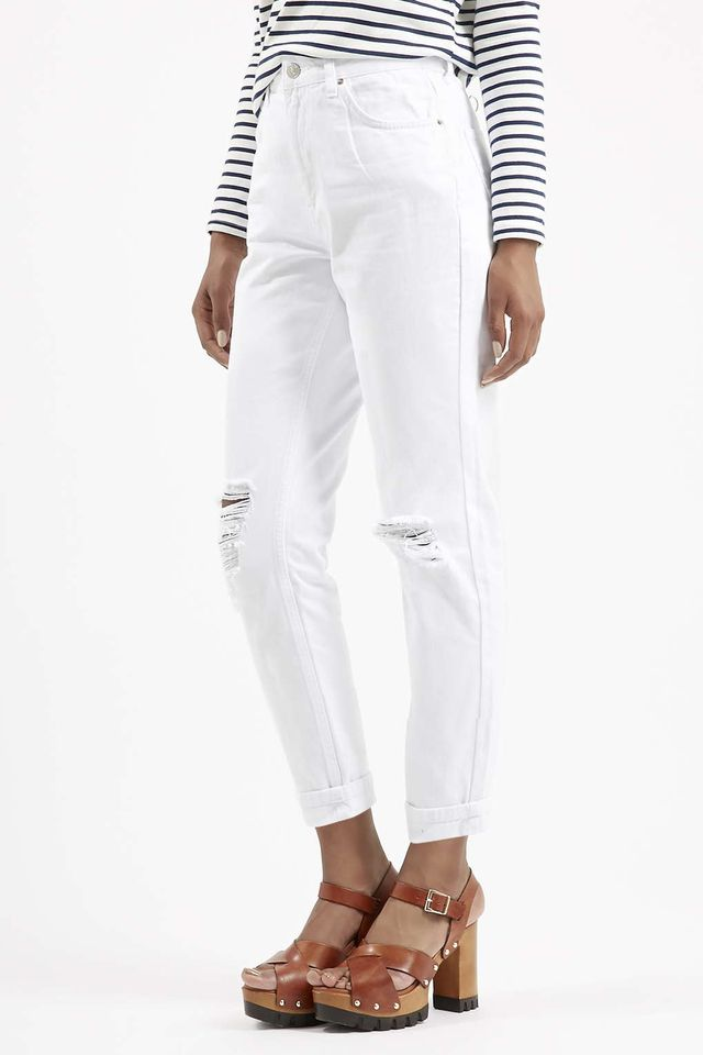 Topshop Moto White Ripped Mom Jeans