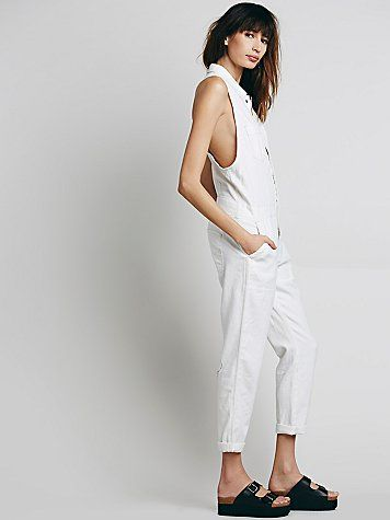 Free People Distressed Downtown Overalls