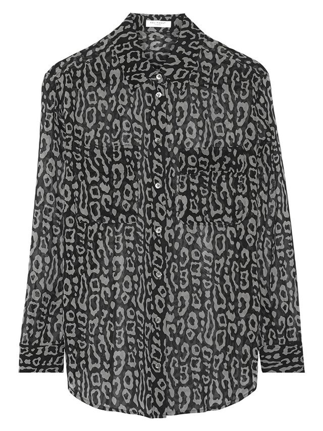 Equipment Signature Animal-Print Silk-Chiffon Shirt