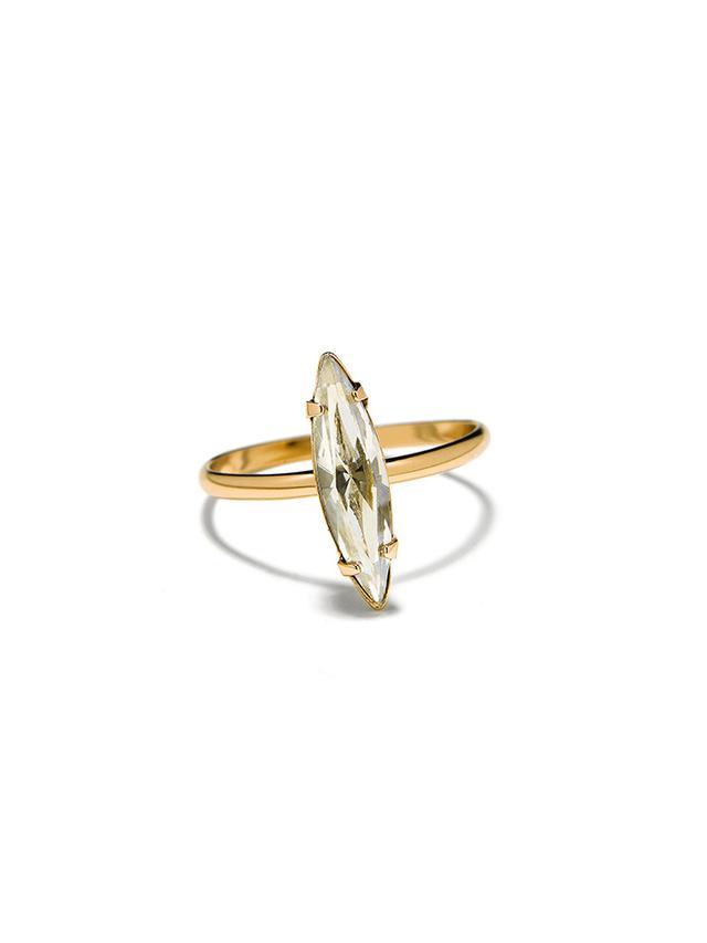 Bing Bang Crystal Shard Swarovski And 14K Yellow Gold Ring