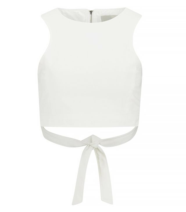 Lavish Alice White Tie Back Crop Top
