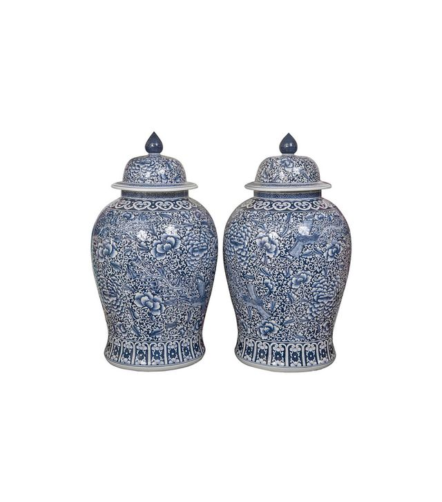 Montage Pair of Palace Size Blue and White Ginger Jars