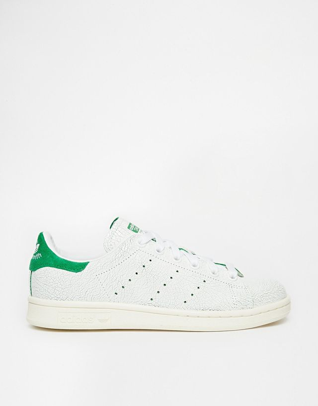 Adidas Originals White & Green Stan Smith Cracked Leather Trainers
