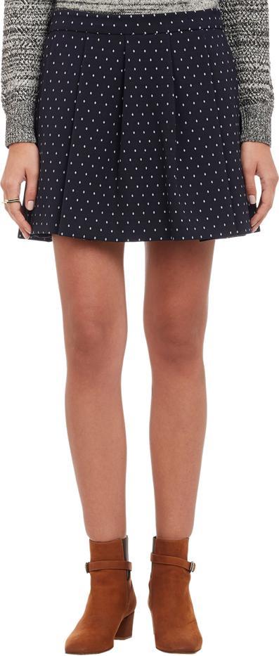 Thakoon Addition Dot Jacquard Box-Pleat Mini Skirt