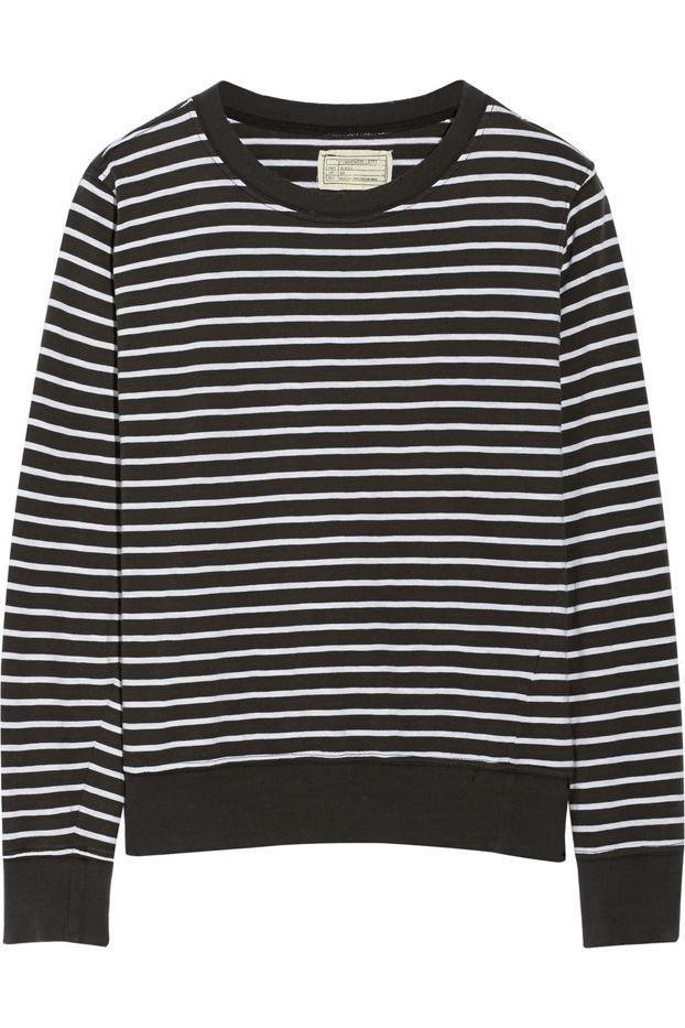 Current/Elliott The Shrunken Jogger Striped Cotton Sweatshirt