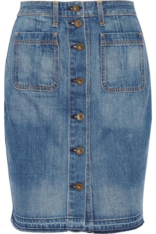 Rag & Bone Cotton-Denim Mini Skirt
