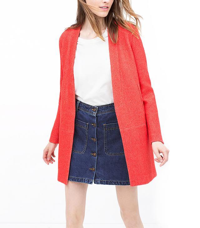 Zara Linen Coral Coat
