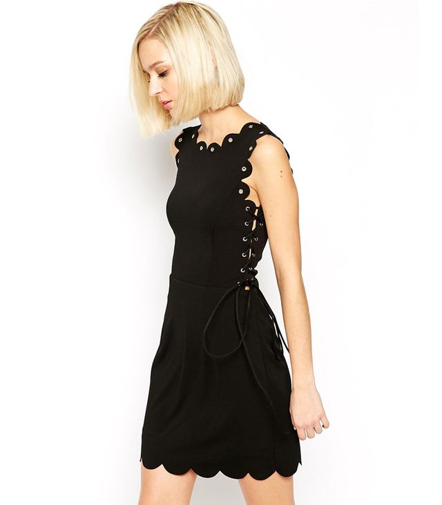 Lavish Alice Mini Dress with Scallop Lace Up Detail