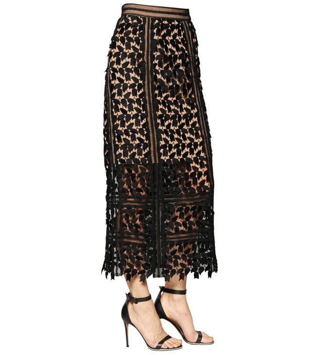 Self-Portait Arabella Lace Midi Skirt