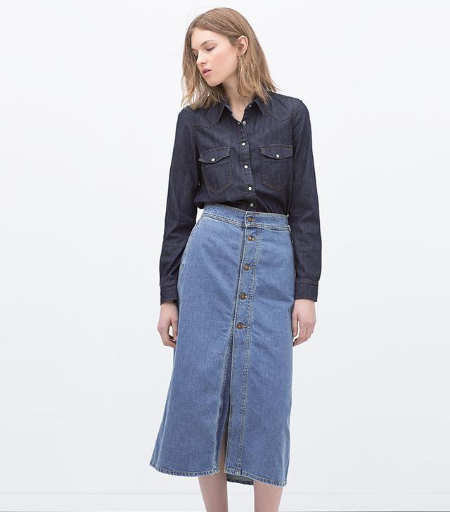 Zara Long Skirt With Buttons