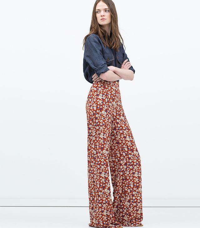 Zara Printed Wide-Leg Trousers