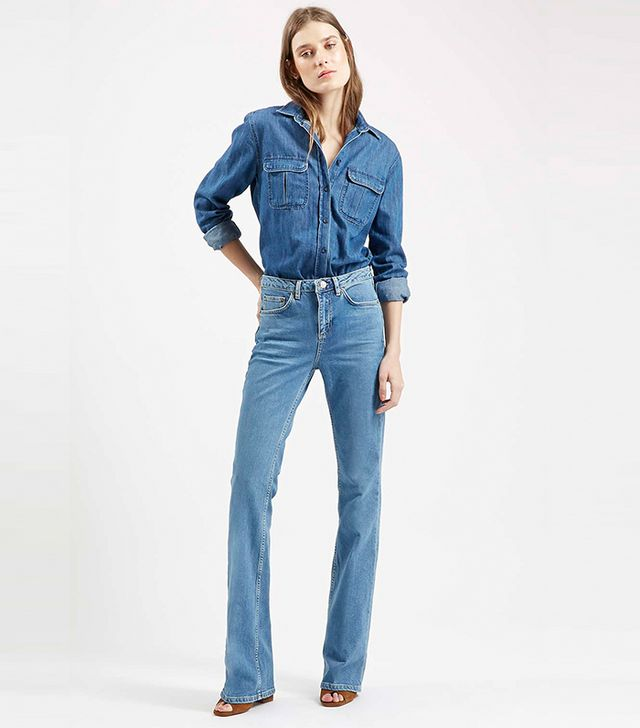 Topshop Moto Mid Blue Tally Flares