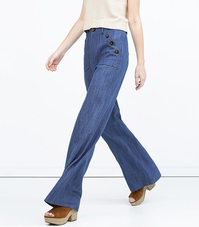 Zara High Waist Wide Legged Jeans