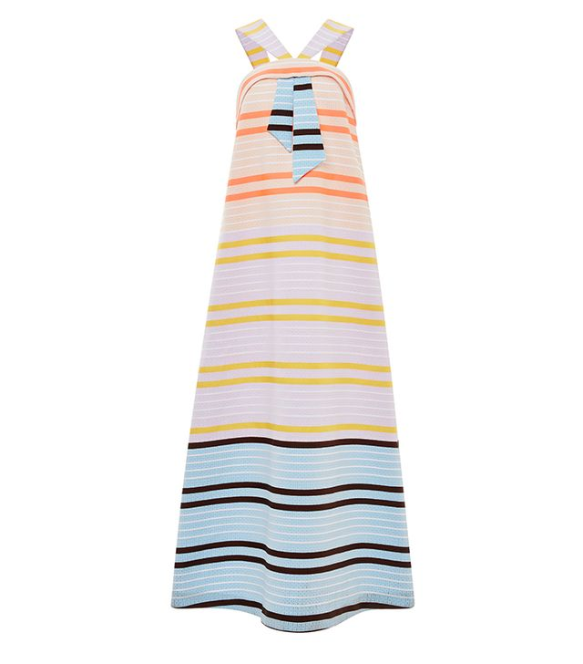 Suno Neon Stripe Faux Tie Maxi Dress