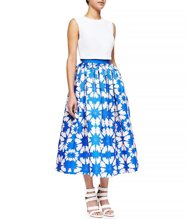Alice + Olivia Molina Floral-Print Tea-Length Ball Skirt